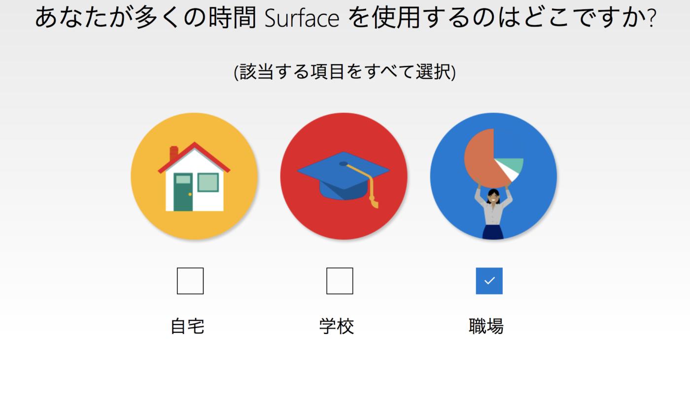 あなたがSurfaceを使うのはどこですか?